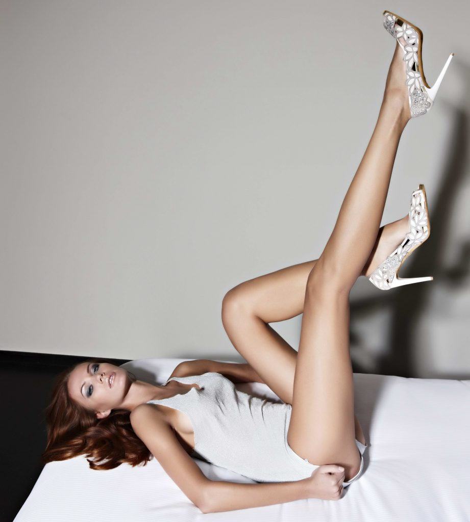 Sexy Redhead Model Showing Long Sexy Legs